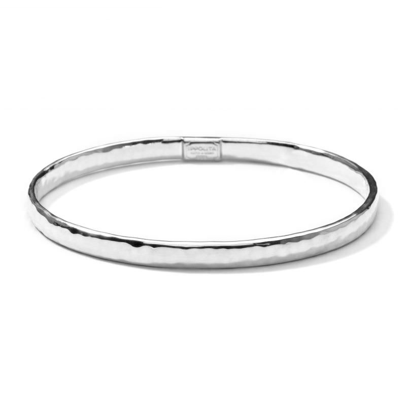 Flat Hammered Bangle in Sterling Silver Image 1