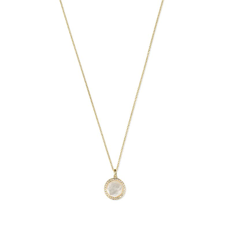 Mini Pendant Necklace with Mother of Pearl and Diamonds Image 1