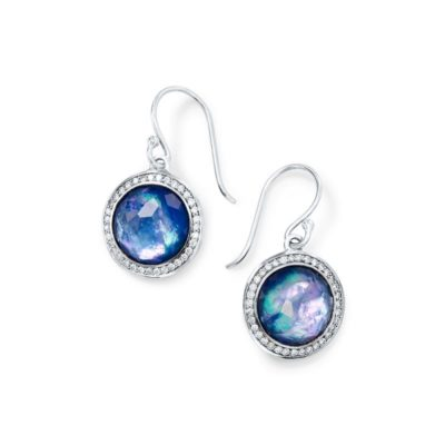 10mm Round Drop Earrings with Diamonds Image 1