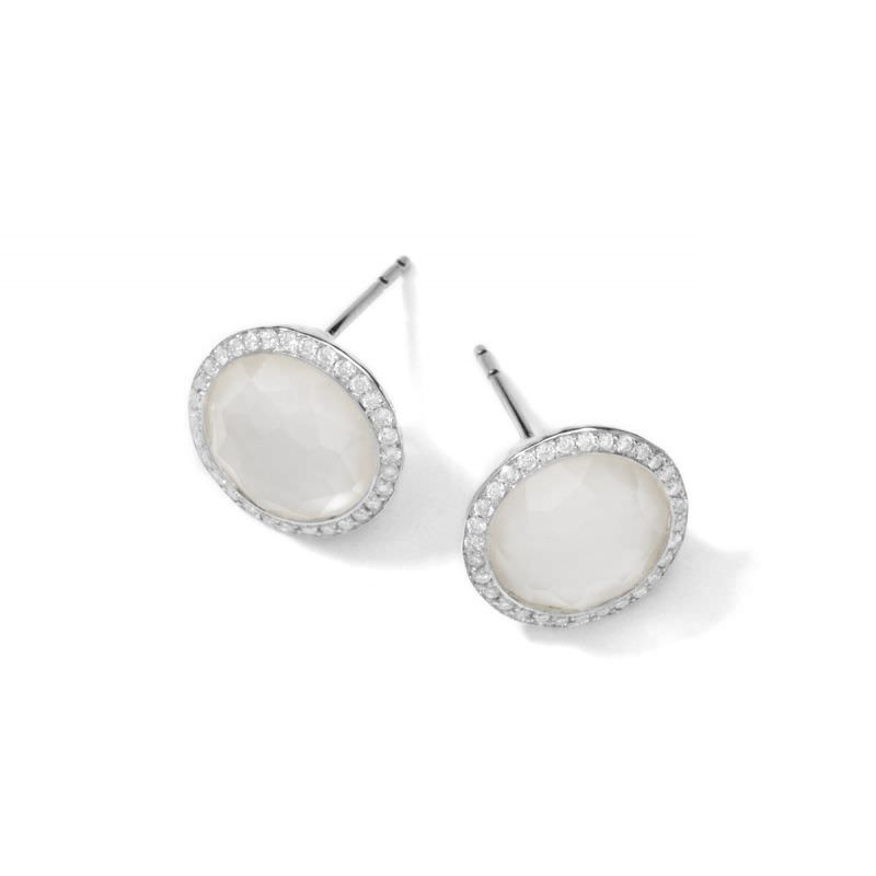 Stud Earrings in Mother of Pearl with Diamonds Image 1