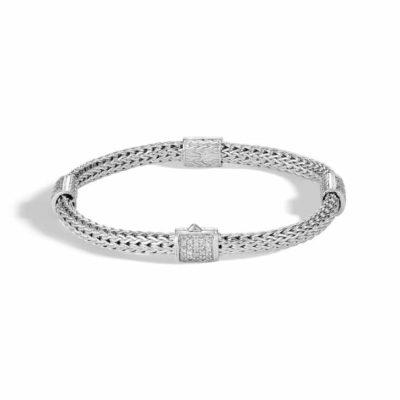 John Hardy Chain 4 Station Classic Chain Bracelet with Diamonds Image 1