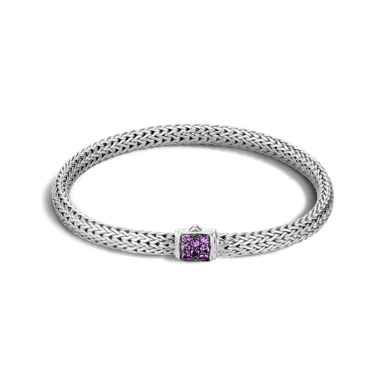 John Hardy Chain 5 MM Classic Chain Bracelet with Amethyst Image 1
