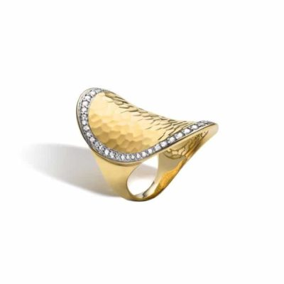 John Hardy Chain Classic Chain Hammered Saddle Ring with Diamonds Image 1