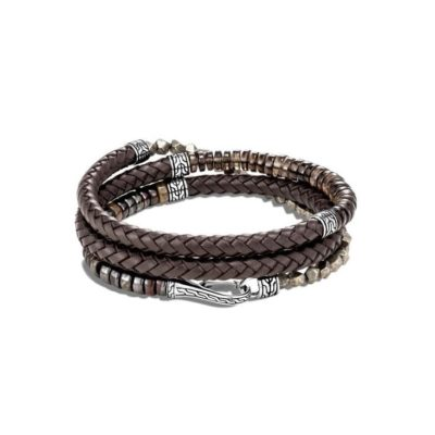 John Hardy Chain Leather Wrap Bracelet