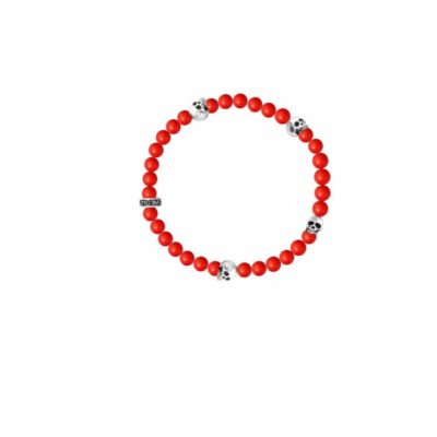 King Baby Red Coral Bead Bracelet Image 1