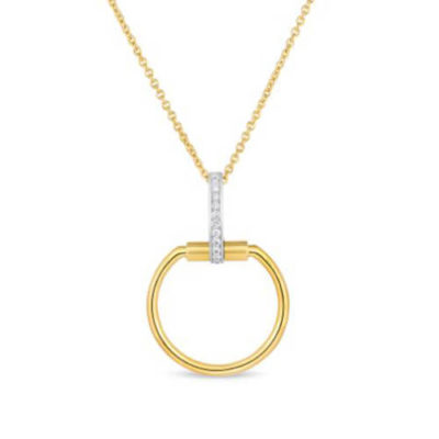 Roberto Coin Classica Parisienne Gold Necklace with Diamonds Image 1