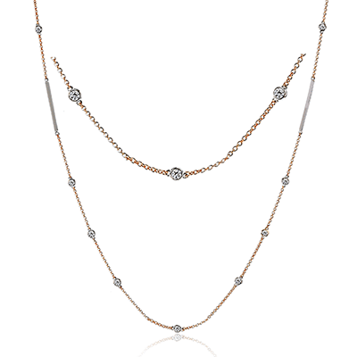 Simon G Fashion Collection Long Rose Gold and Diamond Necklace Image 1