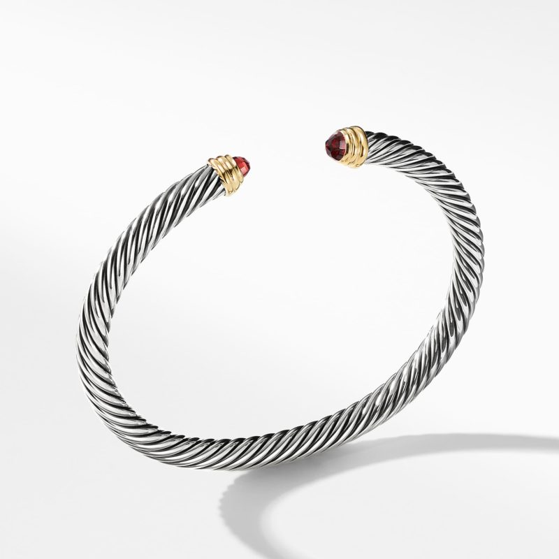 David Yurman Cable Classics Bracelet with Garnet and Gold Image 1