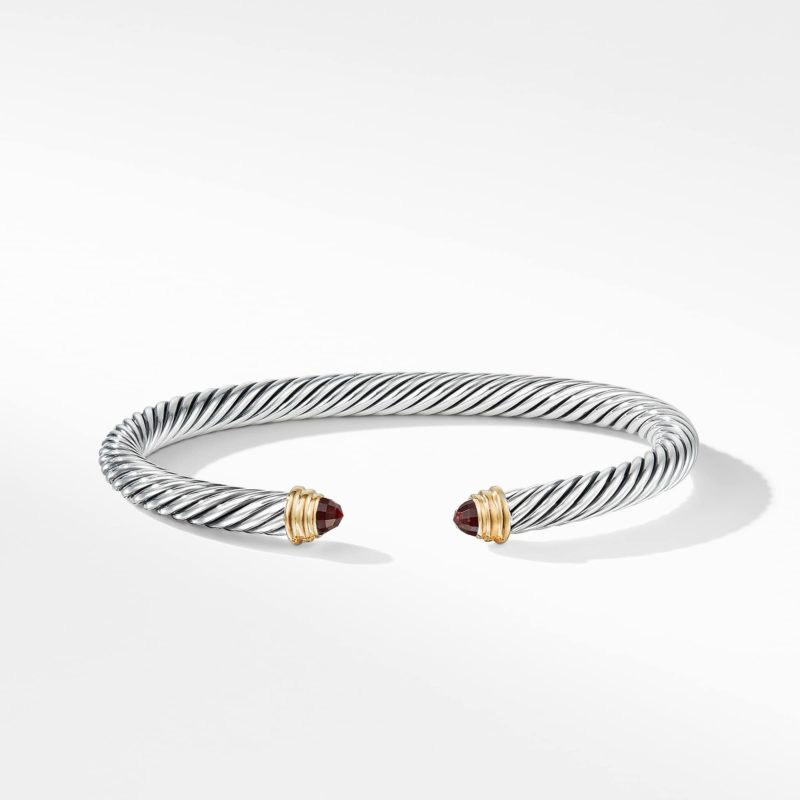 David Yurman Cable Classics Bracelet with Garnet and Gold Image 2