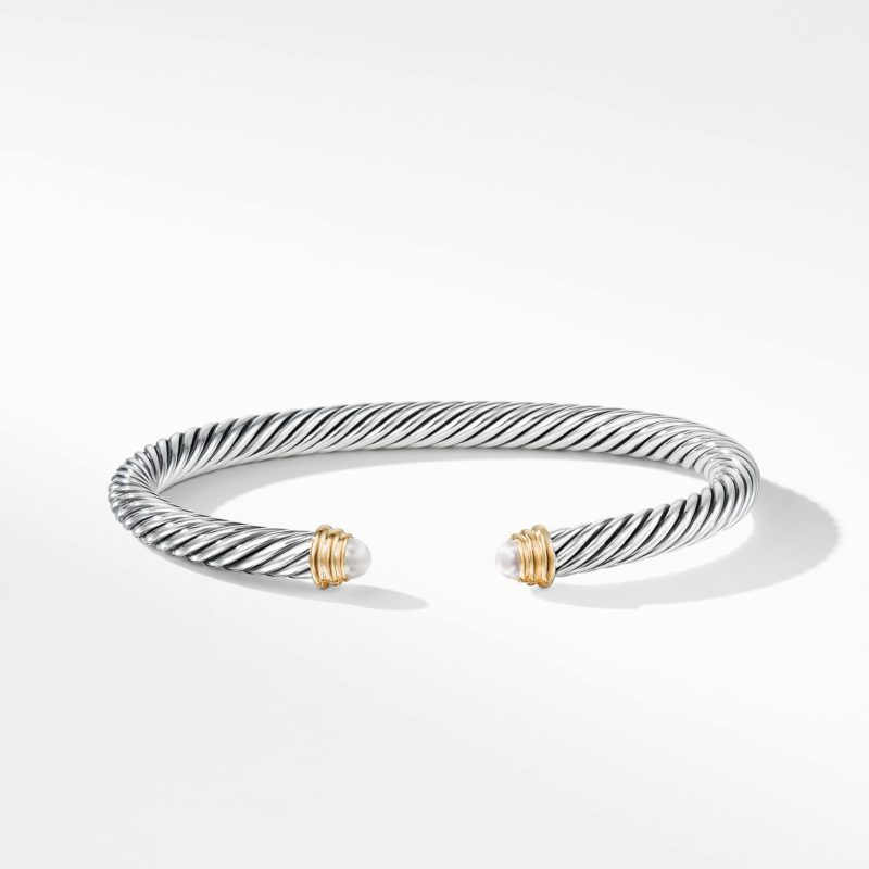 David Yurman Cable Classics Collection® Bracelet with Pearls and 14K Gold Image 2
