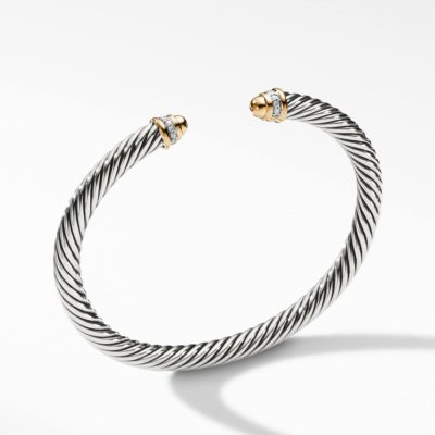David Yurman Cable Classics Bracelet with Gold Domes and Diamonds Image 1