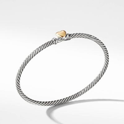 David Yurman Cable Collectibles Heart Bracelet with Gold Image 1