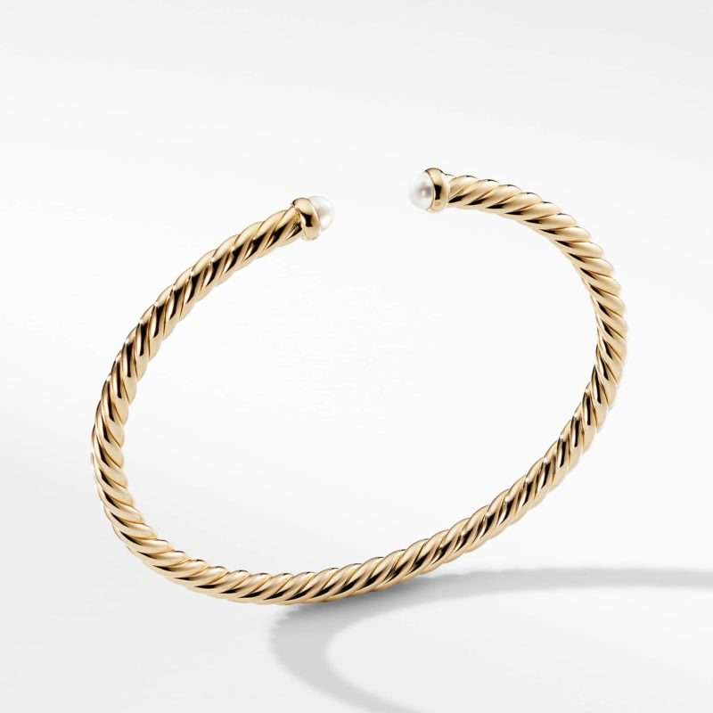 David Yurman Cable Spira Bracelet with Pearls in 18K Gold Image