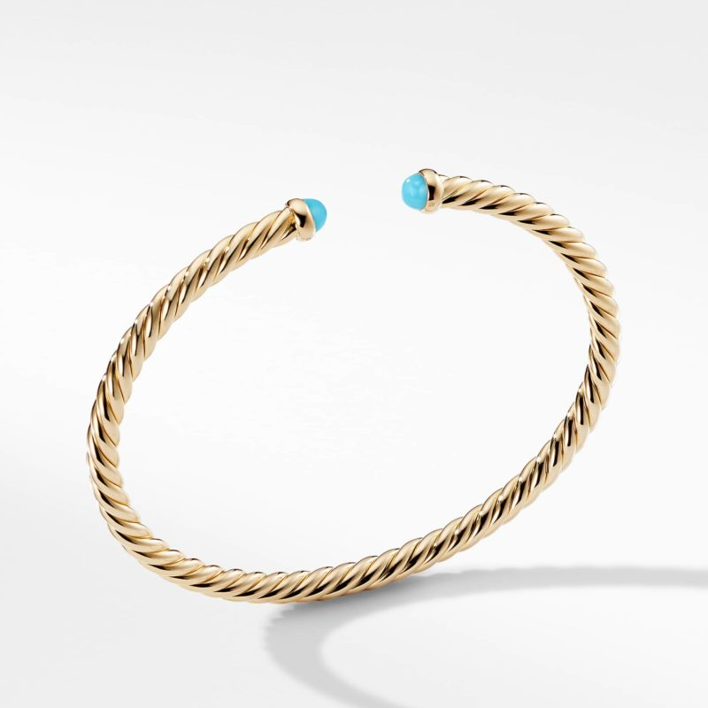 David Yurman Cable Spira Bracelet with Turquoise in 18K Gold Image 1