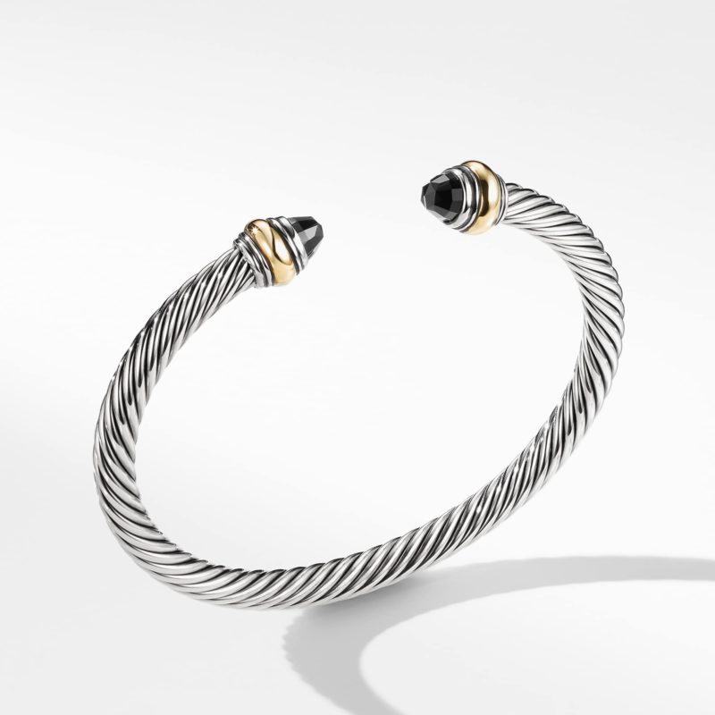 David Yurman Cable Classic Bracelet with Black Onyx and Gold Image