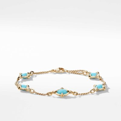 David Yurman Chatelaine® Chain Bracelet in 18K Gold with Turquoise Image 1