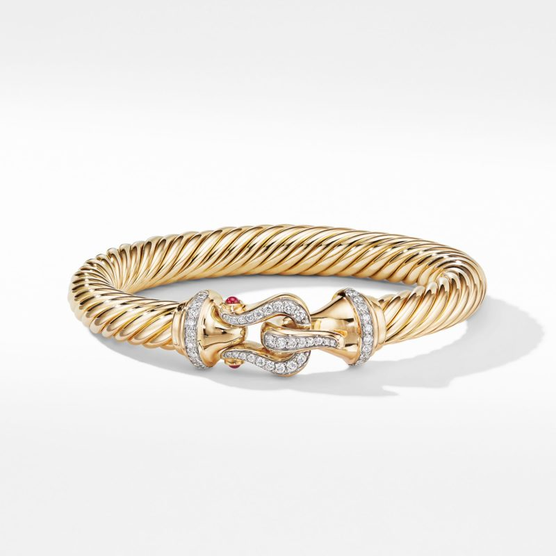 David Yurman Cable Buckle Bracelet in 18K Yellow Gold with Diamonds and Rubies Image 2