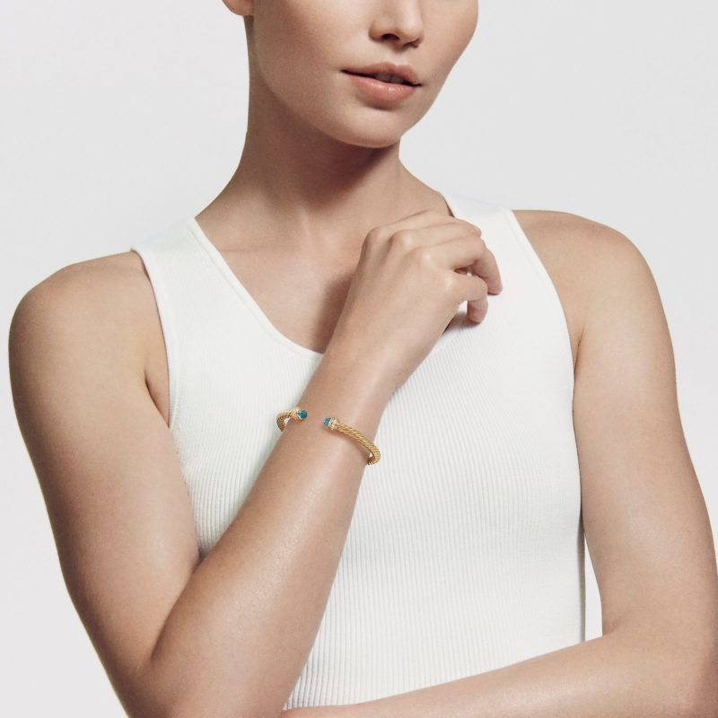 David Yurman Cable Bracelet in 18K Gold with Pearls and Diamonds on Model