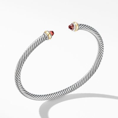 David Yurman Cable Classic Bracelet with Garnet and 18K Yellow Gold Image 1