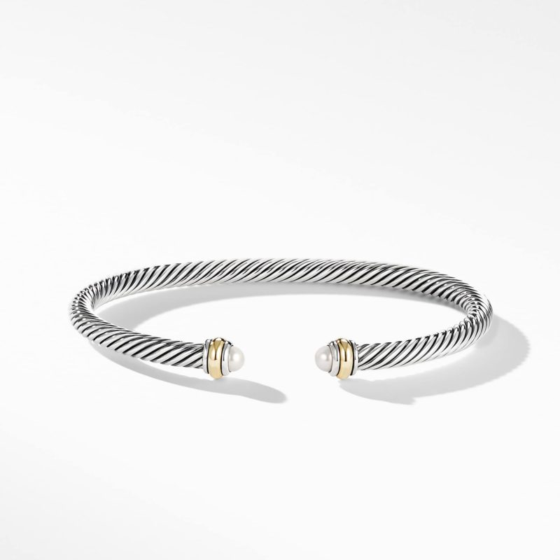 David Yurman Cable Classic Bracelet with Pearl and 18K Yellow Gold Image 2