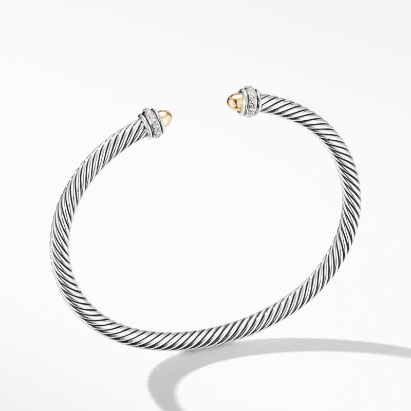 David Yurman Cable Classic Bracelet with 18K Yellow Gold Domes and Diamonds Image 1