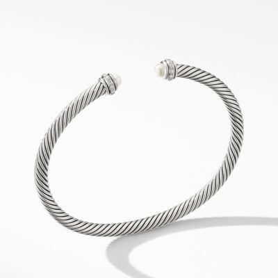 David Yurman Cable Classic Bracelet with Pearls and Diamonds Image