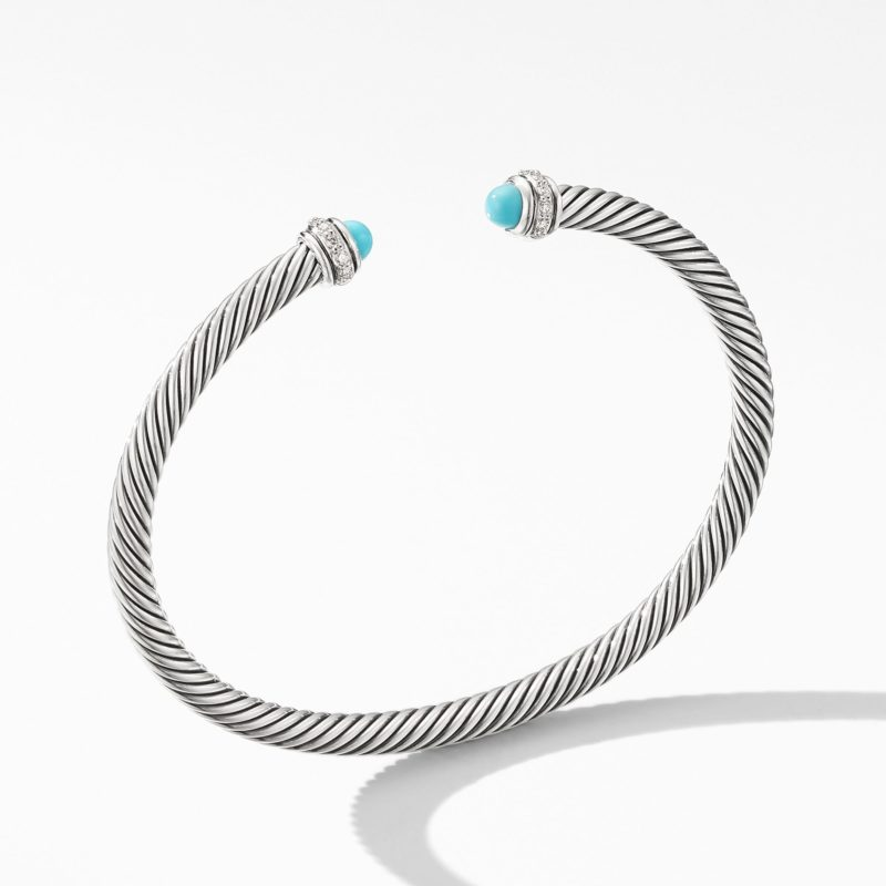 David Yurman Cable Classic Bracelet with Turquoise and Diamonds Image 1