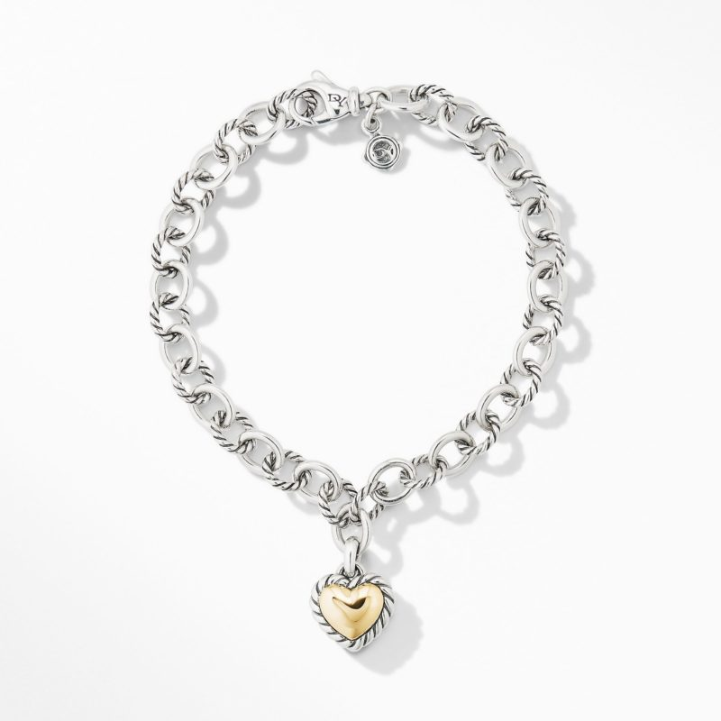 David Yurman Cable Cookie Classic Heart Charm Bracelet with 18K Yellow Gold Image 2