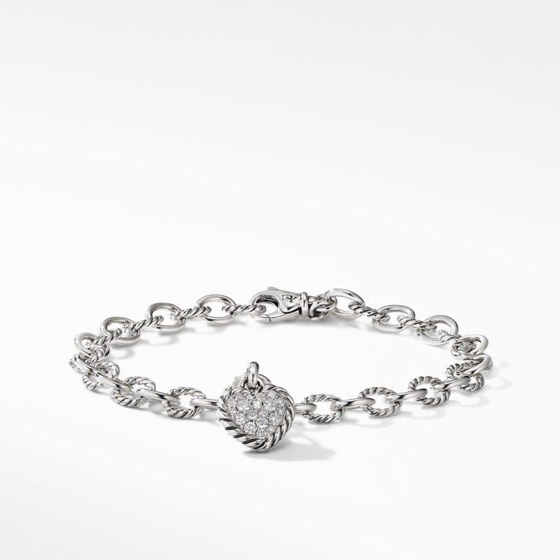 David Yurman Cable Cookie Classic Heart Charm Bracelet  with Diamonds Image 1
