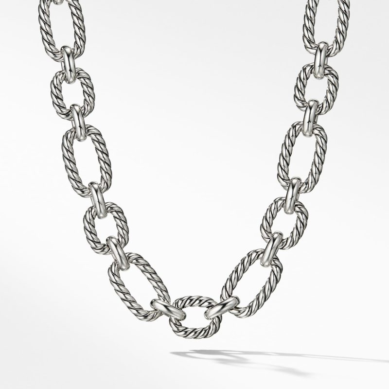 David Yurman Cushion Link Necklace with Blue Sapphires Image 1