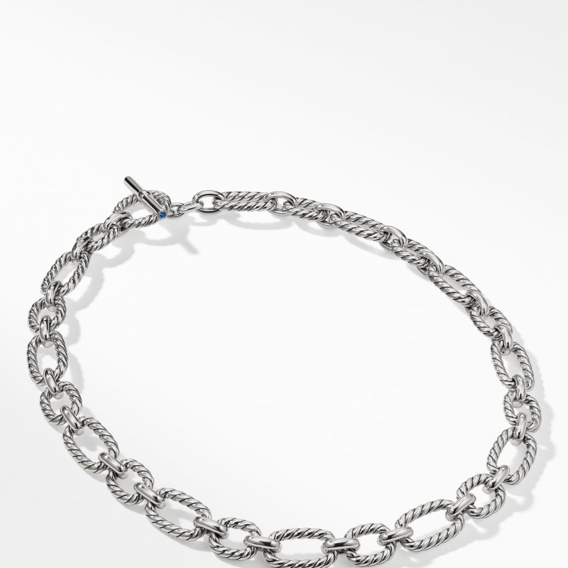 David Yurman Cushion Link Necklace with Blue Sapphires Image 2