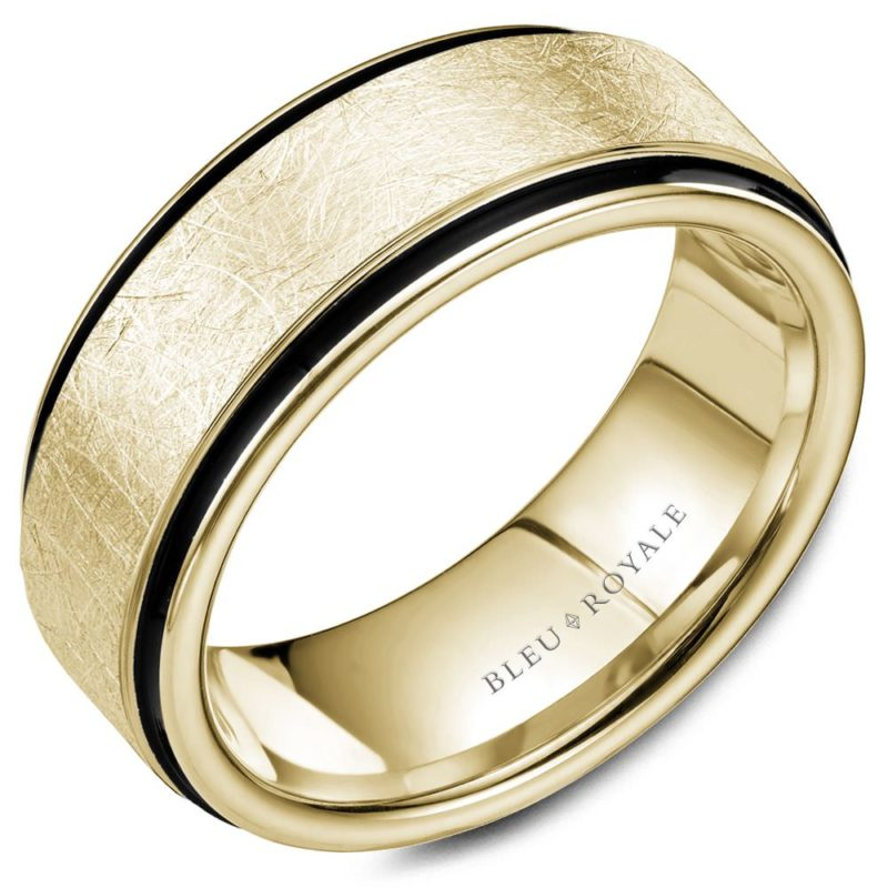 Brushed Gold Wedding Band with Black Carbon Accents Image 1