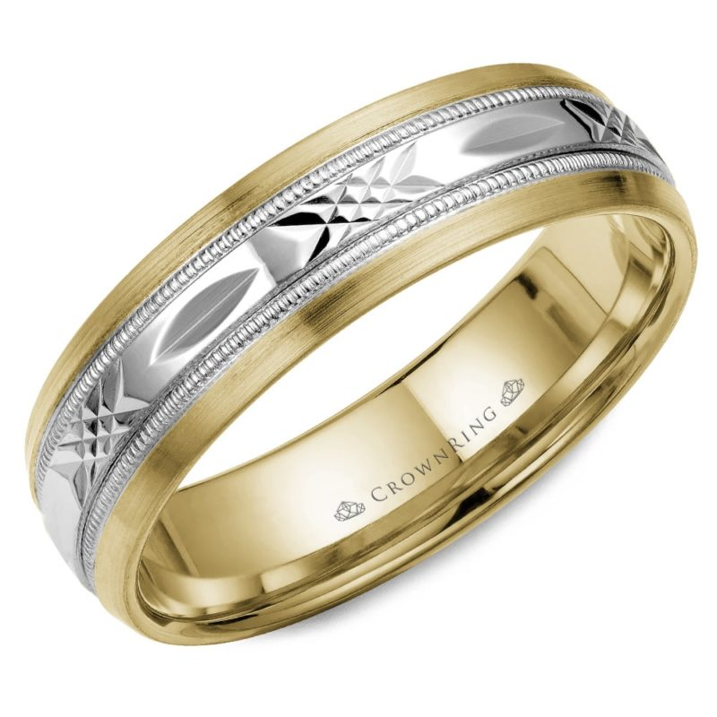Carved Mixed Metal Wedding Band Image 1