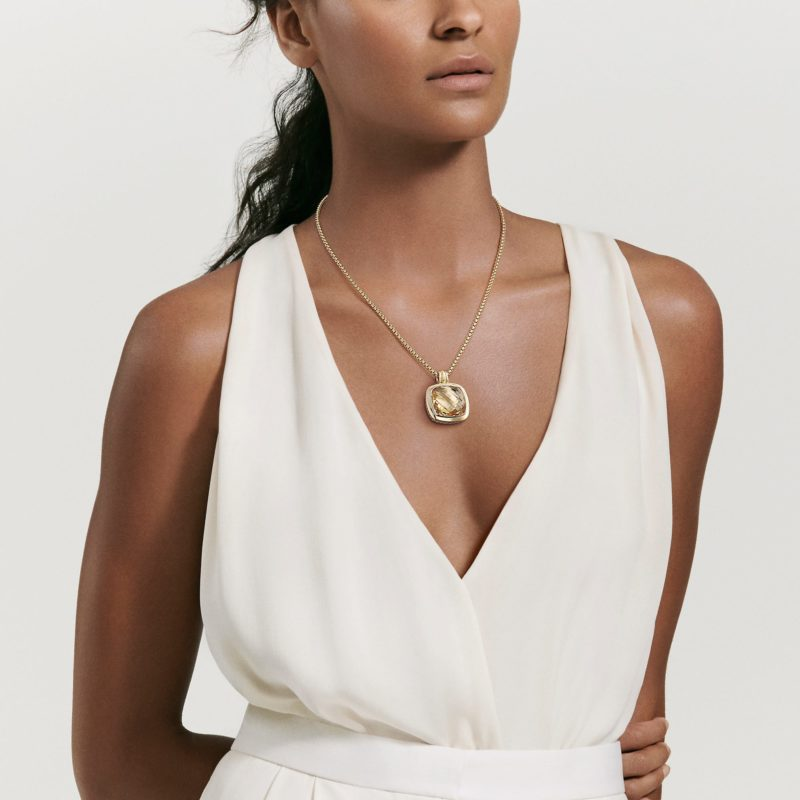 David Yurman Albion® Pendant with 18K Gold and Reconstituted Turquoise on Model