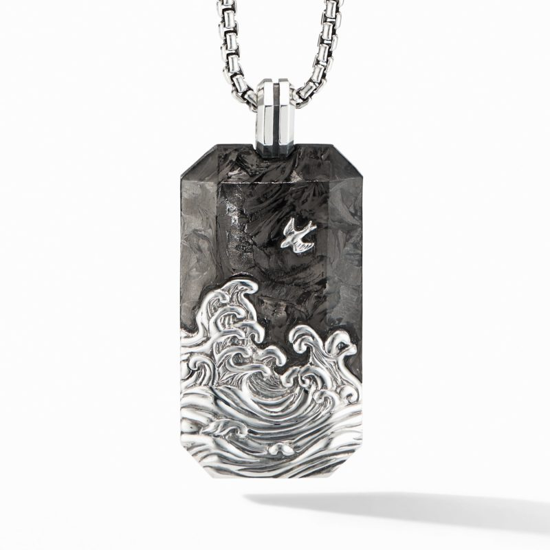 David Yurman Waves Large Tag with Forged Carbon Image 1