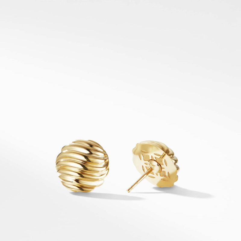 David Yurman Sculpted Cable Earrings in Gold Image 2