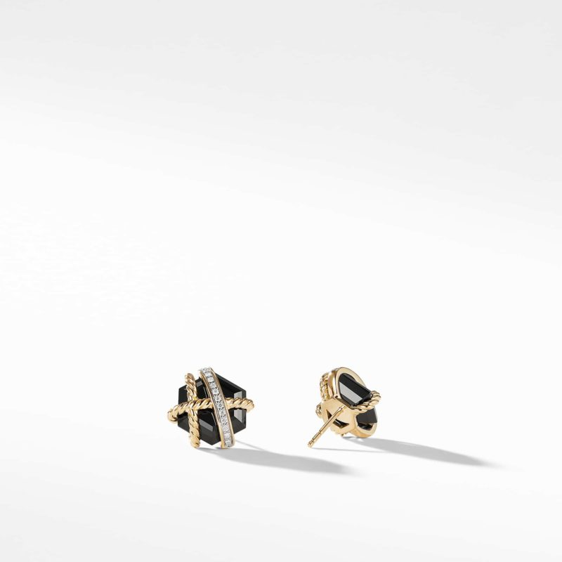 David Yurman Cable Wrap Earrings with Black Onyx and Diamonds in Gold Image 2