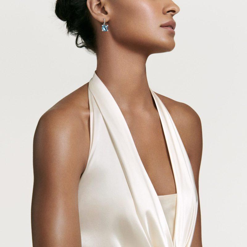 David Yurman Chatelaine® Drop Earrings with Prasiolite and Diamonds on Model
