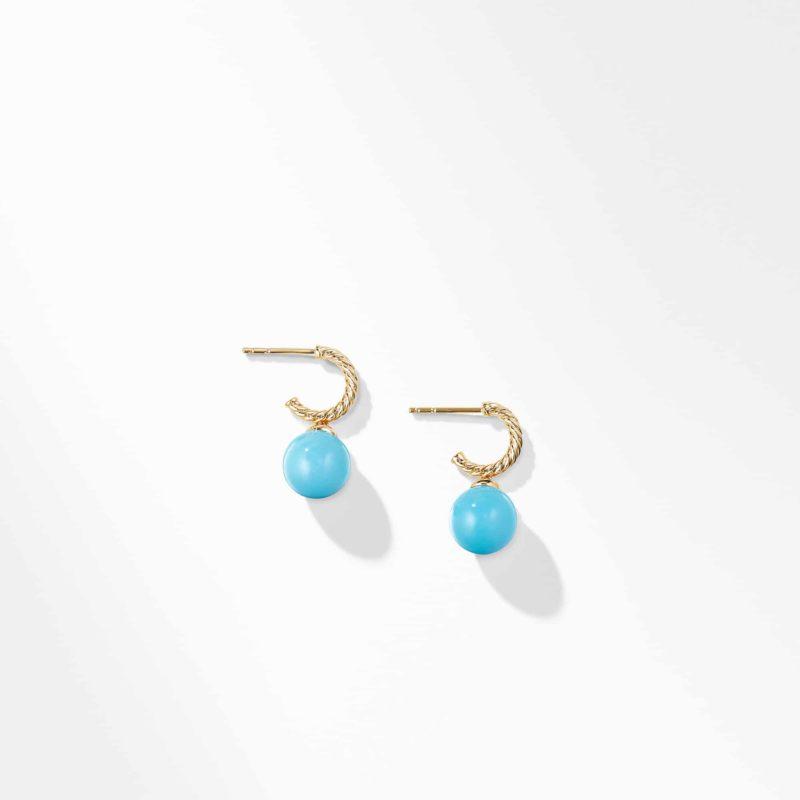 David Yurman Hoop Earring with Turquoise in 18K Gold Image 2