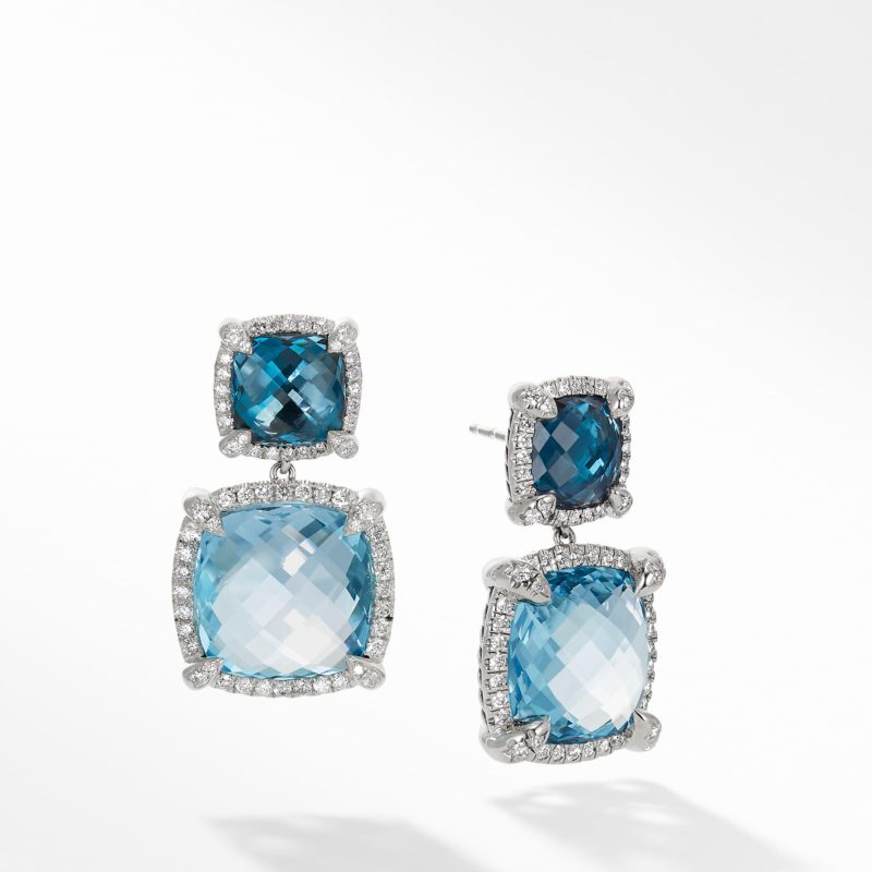David Yurman Chatelaine Pave Bezel Double Drop Earring with Blue Topaz