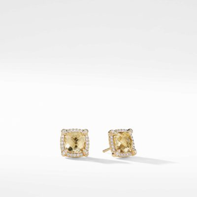 David Yurman Chatelaine Pave Bezel Stud Earring with Champagne Citrine and Diamonds in 18K Gold