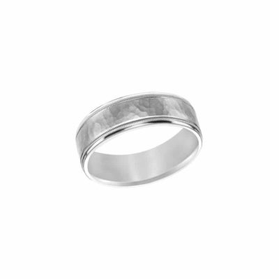 Fredrick Goldman Brushed Hammered Wedding Band Image 1