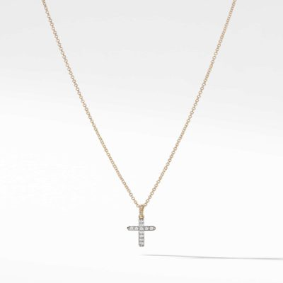 David Yurman Cable Collectibles Cross with Diamonds in Gold on Chain Image
