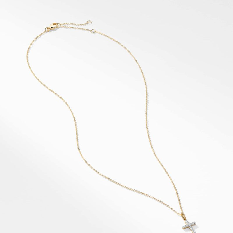 David Yurman Cable Collectibles Cross with Diamonds in Gold on Chain Image 3