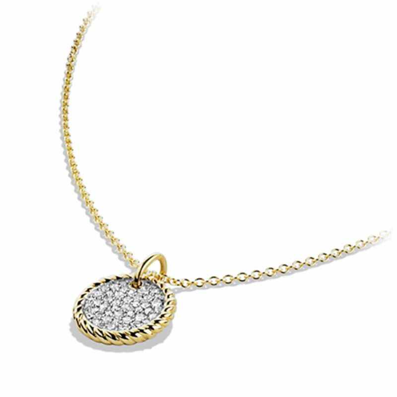 David Yurman Cable Collectibles Pavé Charm Necklace with Diamonds in 18K Gold Image 3