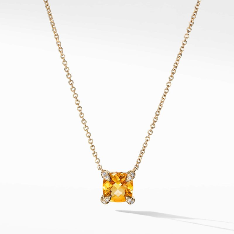 David Yurman Necklace with Citrine and Diamonds in 18k Gold Image 1