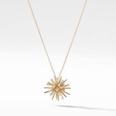 David Yurman Supernova Small Pendant Necklace with Diamonds in 18K Gold Image 1