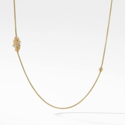 David Yurman Crossover Station Necklace with Diamonds in 18K Gold Image 1