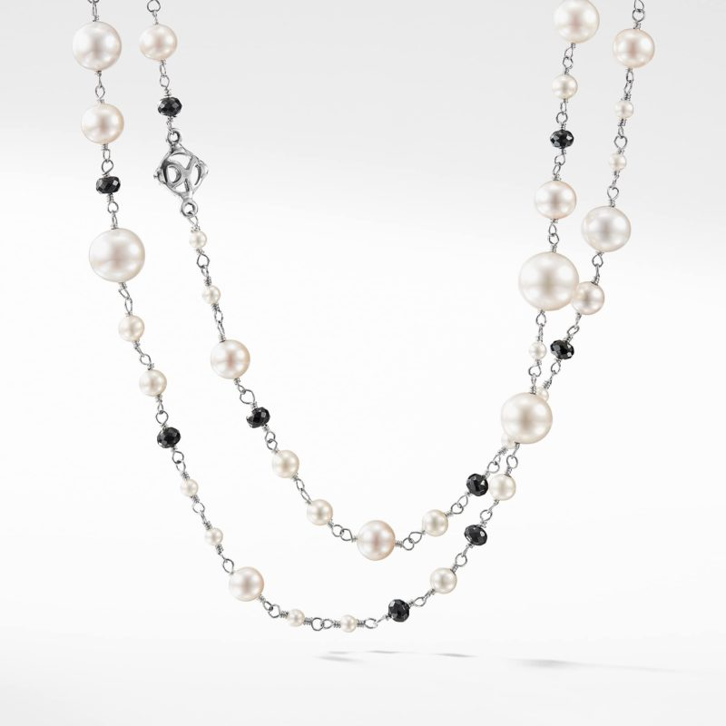 David Yurman Oceanica Pearl and Bead Link Necklace with Pearls and Black Spinel Image 1