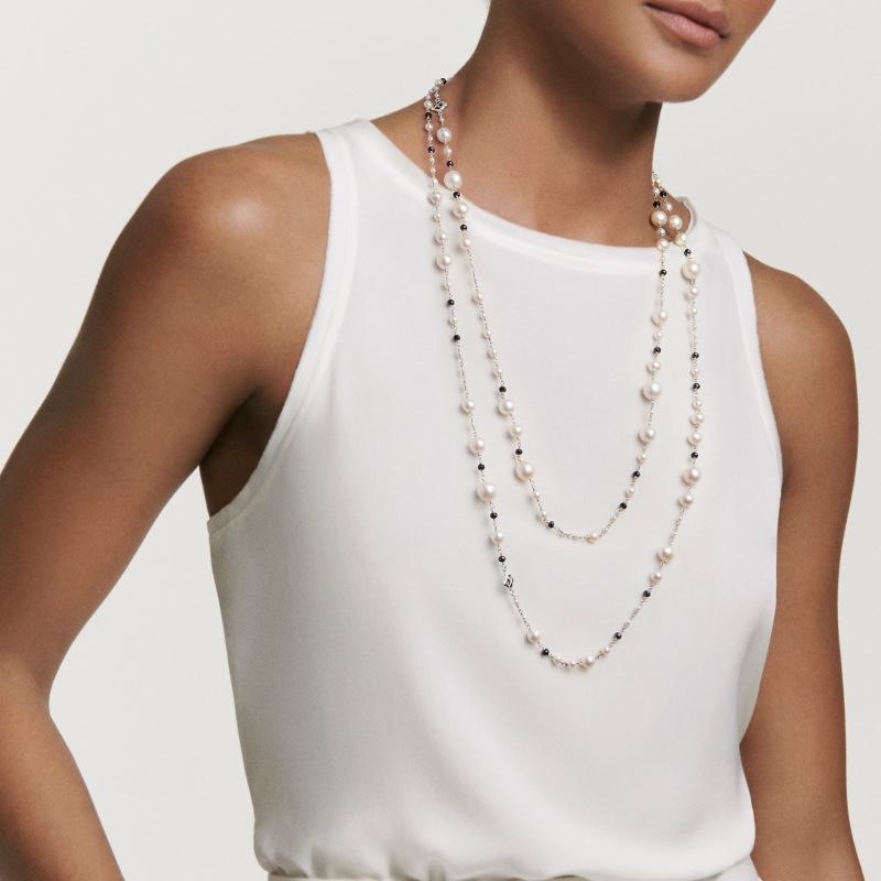 David Yurman Oceanica Pearl and Bead Link Necklace with Pearls and Black Spinel on Model